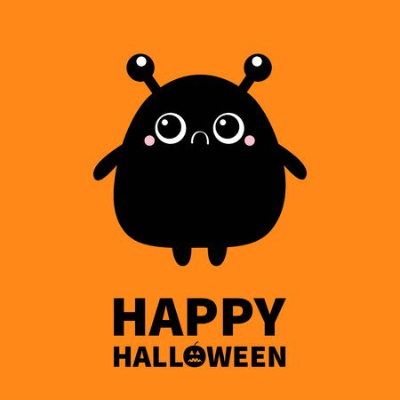 Happy Halloween. Monster silhouette. Cute kawaii cartoon black scary funny character icon. Eyes, horns, hands. Funny baby collection. Isolated. Orange background. Flat design. Vector illustration