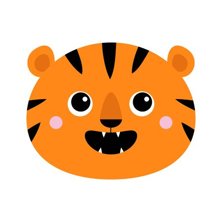Tiger roaring yawing face icon. Open mouth fang. Cute cartoon kawaii funny baby animal character. Childish print for nursery, kids apparel, poster. Jungle cat roar. Flat design White background Vector