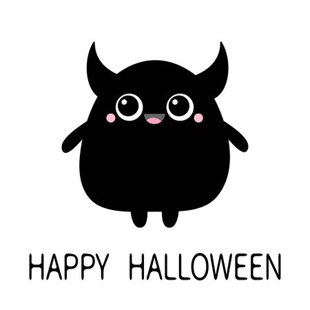 Happy Halloween. Monster silhouette. Cute kawaii cartoon black scary funny character icon. Two eyes, horns, hands. Funny baby collection. Isolated. White background. Flat design. Vector illustration Ilustração