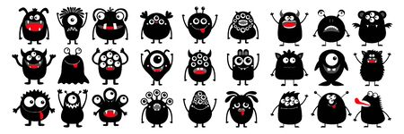 Happy Halloween. Monster black silhouette super big icon set. Cute cartoon kawaii scary funny baby character. Eyes, tooth fang, tongue, hands up. White background. Flat design. Vector illustration