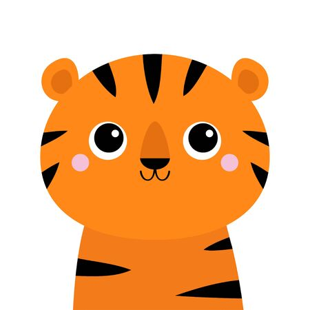 Tiger. Cute cartoon kawaii funny character. Big eyes. Baby animal collection. Childish print for nursery, kids apparel, poster, postcard. Jungle cat. Flat design. White background. Isolated. Vector