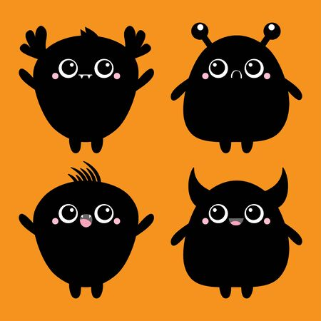 Happy Halloween. Monster black silhouette. Baby icon set. Cute cartoon kawaii scary funny character. Eyes, tooth fang, tongue, hands up. Isolated. Orange background. Flat design. Vector illustration Stock Illustratie