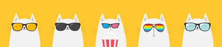 White cat set. Eating popcorn. Cinema theater. Cute cartoon funny character. Film show. Kitten watching movie in 3D glasses, sunglasses, rainbow glass. Yellow background. Isolated. Flat design Vector