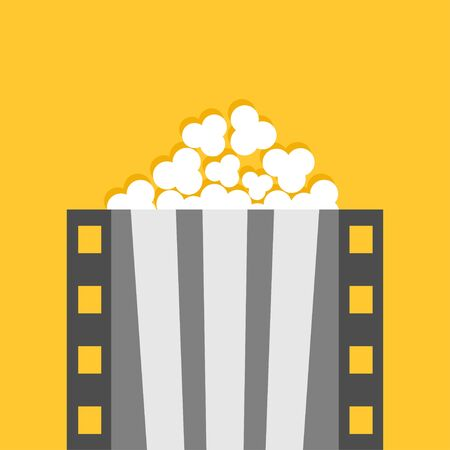 Popcorn. Film strip line. Pop corn box. Cinema movie night icon. Poster template. Flat design style. Isolated. Yellow background. Vector illustration