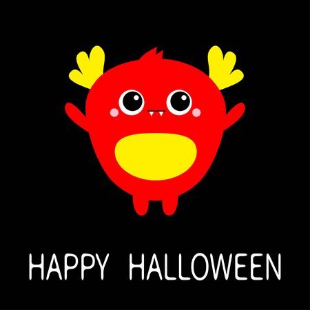 Red monster with two eyes, fang teeth, horns, ears. Happy Halloween. Funny Cute cartoon kawaii character. Baby collection. Flat design. Greeting card. Black background. Isolated. Vector illustration Ilustração