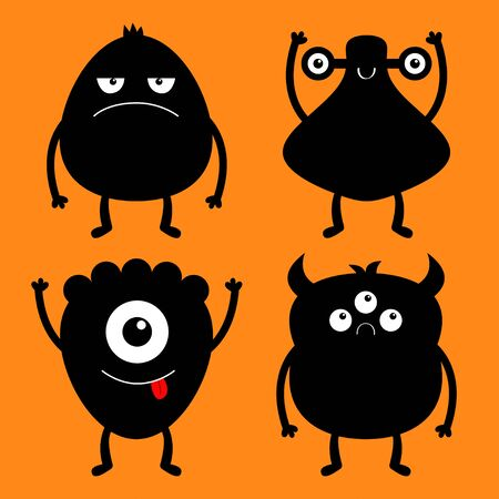 Happy Halloween. Monster black silhouette set. Cute cartoon kawaii sad character icon. Eyes, horns, hands up, tongue. Funny baby collection. Orange background. Isolated Flat design Vector illustration Иллюстрация