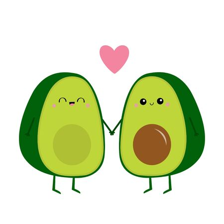 Avocado family. Mother, father holding hands. Pink heart. Cute cartoon kawaii funny character set. Love greeting card. Happy Valentines day. Healthy food. Flat design. White background. Vector