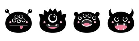 Happy Halloween. Monster head face icon black silhouette set line. Funny baby collection. Eyes, horns, fang tooth, tongue. Cute cartoon kawaii character. Isolated White background. Flat design. Vector