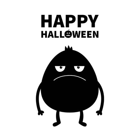 Monster black silhouette. Happy Halloween. Cute cartoon kawaii sad character icon. Eyes, hands. Funny baby collection. Flat design. White background. Isolated. Vector illustration