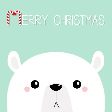 Polar white bear cub sad face. Merry Christmas. Candycane text. Happy New Year. Cute cartoon baby character. Arctic animal. Hello winter. Flat design. Blue background. Greeting card print. Vector