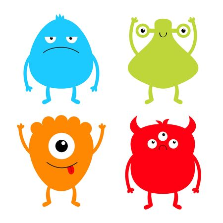 Monster colorful silhouette set. Happy Halloween. Cute cartoon kawaii sad character icon. Eyes, horns, hands up, tongue. Funny baby collection. White background. Isolated. Flat design. Vector