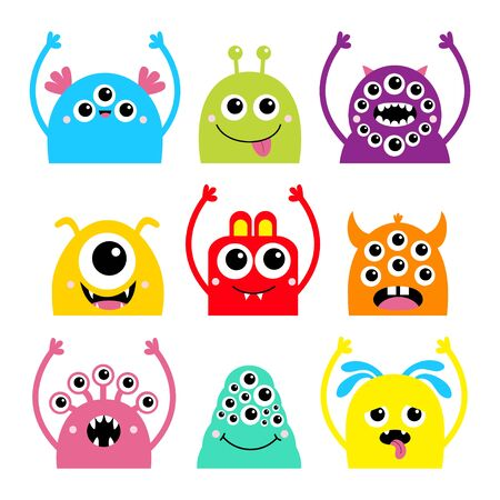 Monster head face icon set. Happy Halloween. Cute cartoon kawaii colorful scary character. Eyes, horns, hands up, tongue, fang teeth. Funny baby collection. White background Flat design. Vector