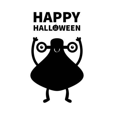 Monster black silhouette. Happy Halloween. Cute cartoon kawaii character icon. Eyes, smile, hands up. Funny baby collection. White background. Isolated. Flat design. Vector illustration