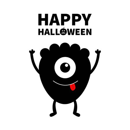 Monster black silhouette. Happy Halloween. Cute cartoon kawaii character icon. One eye, tongue, hands up. Funny baby collection. Isolated. White background. Flat design. Vector illustration