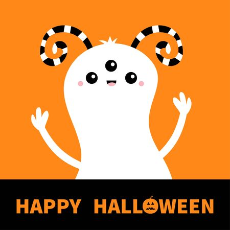 Monster white silhouette. Happy Halloween. Cute cartoon kawaii scary character icon. Eyes, striped horns, hands up boo. Funny baby collection. Greeting card. Orange background. Flat design. Vector Stok Fotoğraf - 149910722