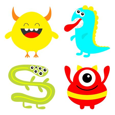 Monster colorful silhouette set. Dino, snake. Happy Halloween. Cute kawaii cartoon scary funny character icon. Eye, hair, tongue teeth, hands. Funny baby. White background. Flat design. Vector