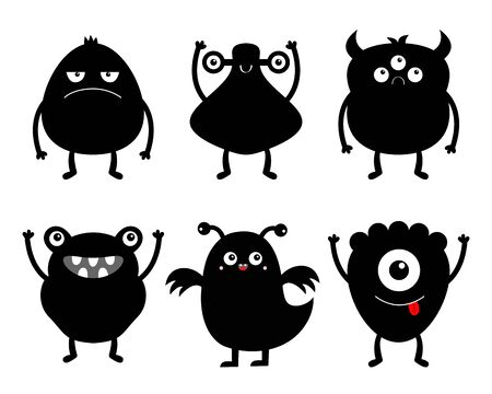 Happy Halloween. Monster black silhouette icon set. Eyes, horns, hands up, tongue. Six cute cartoon kawaii sad character. Funny baby collection. Isolated. White background. Flat design. Vector 일러스트