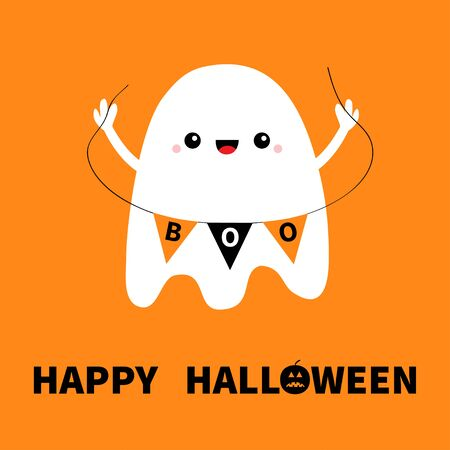 Flying ghost spirit holding bunting flag Boo. Happy Halloween. Cute cartoon kawaii spooky character. Scary white ghosts. Smiling face, hands. Orange background. Greeting card. Flat design. Vector Vettoriali