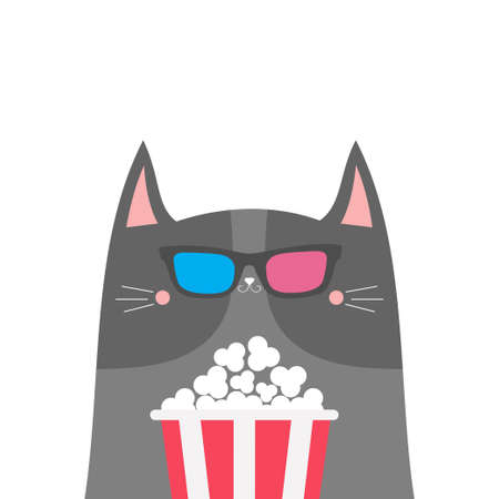 Gray cat and popcorn. Cinema theater. Cute cartoon funny character. Film show. Kitten watching movie in 3D glasses. Kids print for tshirt notebook cover. White background Isolated. Flat design. Vector