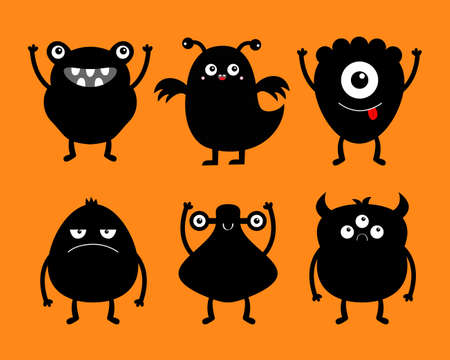 Monster black silhouette icon set. Happy Halloween. Eyes, horns, hands up, tongue. Six cute cartoon kawaii sad character. Funny baby collection. Isolated. Orange background. Flat design. Vector Ilustração