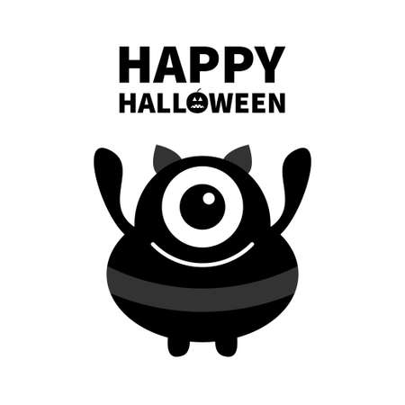 Monster silhouette. Happy Halloween. Cute cartoon kawaii sad character icon. Ears, one eye, hands. Funny baby collection. Black color. Flat design. White background. Isolated. Vector illustration