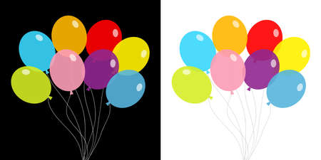 Balloon set. Bunch of balloons. Colorful transparent helium toy on string thread. Flying through the air, sky. Flat design. Isolated. White and black background. Vector illustration Illustration