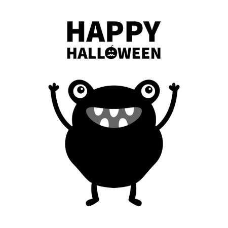 Monster black silhouette. Happy Halloween. Cute cartoon kawaii frog character icon. Eyes, hands, teeth. Funny baby collection. Flat design. White background. Isolated. Vector illustration