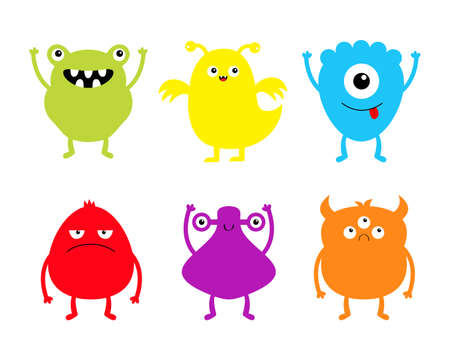 Happy Halloween. Monster set. Cute kawaii cartoon character icon. Funny baby collection. Eyes horns, hands up, tongue. Colorful silhouette. White background. Isolated. Flat design. Vector