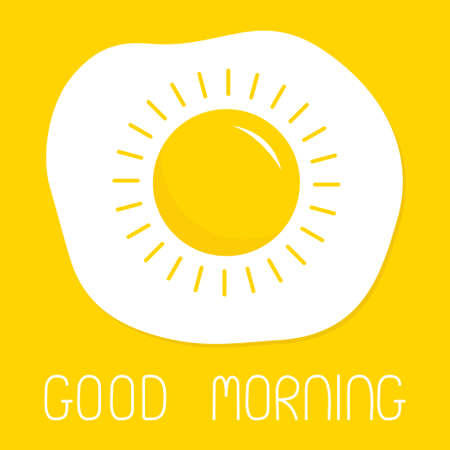 Good morning. Fried scrambled egg icon. Yolk in shape of sun shining. Top view closeup. Breakfast menu. Cute cartoon food. Flat design. Yellow background. Isolated. Vector illustration