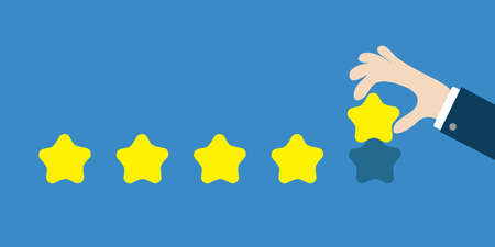 Five star rating selection system. Custumer review satisfaction review. Human hand finger put estimate. 5 Golden stars. Businessman hands pointing. Flat design. Blue background. Isolated. Vector