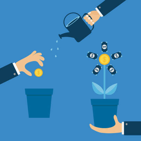 Three step infographic. Businessman hand holding money tree, watering can, seed Coin dollar sign Financial growth concept. Plant in the pot. Successful business icon Flat design Blue background Vector Vettoriali