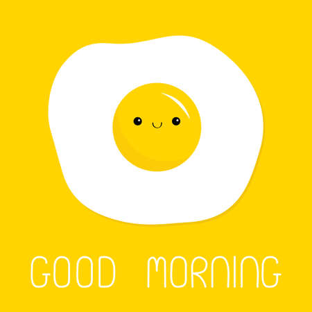 Good morning. Fried scrambled egg icon. Cute yolk face. Top view closeup. Cartoon kawaii baby smiling food character. Breakfast menu. Flat design. Yellow background. Isolated. Vector illustration Иллюстрация