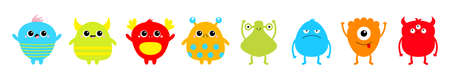 Happy Halloween. Monster set line. Cute kawaii cartoon sad character icon. Eyes, horns, hands up, tongue. Funny baby collection. Colorful silhouette. Isolated. White background. Flat design. Vector Ilustração