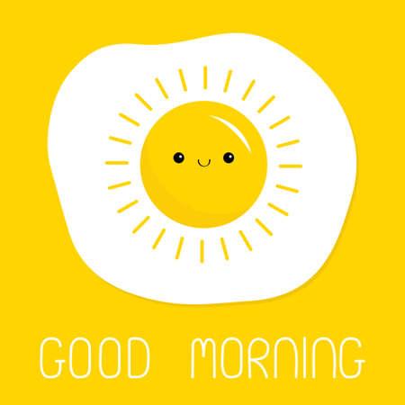 Good morning. Fried scrambled egg icon. Yolk in shape of sun shining. Top view closeup. Breakfast menu. Cartoon kawaii baby smiling food character. Cute face. Flat design. Yellow background. Vector