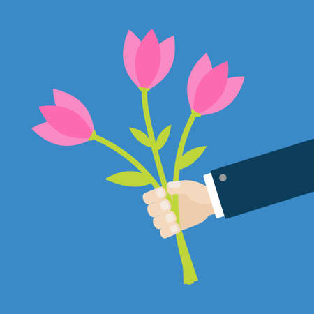 Businessman hand holding bouquet of pink tulip flower set. Cute cartoon man character. Flat design. Isolated. Blue background. Vector illustration