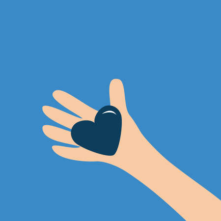 Human hand arm holding heart shape sign. Close up body part. Happy Valentines day. Greeting card. Flat design style. Love soul gift concept. Blue background. Isolated. Vector illustration Vecteurs