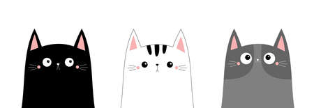 White black cray cat head face line contour silhouette icon set. Funny kawaii smiling sad doodle kitten kitty animal. Cute cartoon funny character. Pet collection. Flat design Baby background. Vector