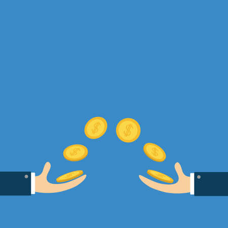 Giving and taking hands with flying golden coin money dollar sign. Helping hand concept. Flat design style. Business support credit icon set. Blue background. Isolated. Vector illustration.