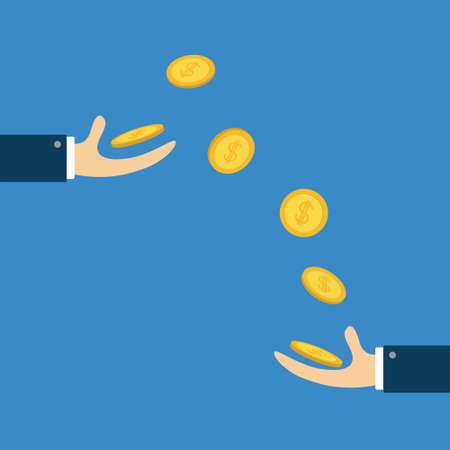 Giving taking Hands with falling down golden coin money dollar sign. Helping hand concept. Flat design style. Business support credit icon set. Blue background. Isolated. Vector illustration