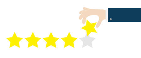 Custumer review satisfaction review. Five star rating selection system. Human hand finger put estimate. 5 Golden stars. Businessman hands pointing. Flat design. White background. Isolated. Vector