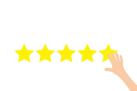 Finger press 5 Golden stars button. Human hand put estimate. Custumer review satisfaction review. Five star rating selection system. Businessman hands pointing. Flat design. White background. Vector Vettoriali