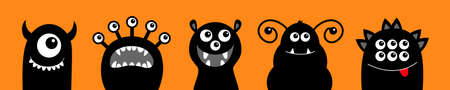 Monster icon set line. Happy Halloween. Cute cartoon kawaii baby character. Funny face head black silhouette. Eyes teeth fang tongue. Flat design. Orange background. Vector illustration