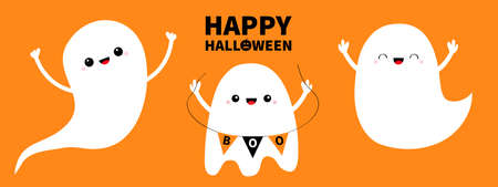 Happy Halloween. Three ghost set line. Spirit holding bunting flag Boo. Scary flying white ghosts. Cute cartoon kawaii spooky baby character. Smiling face, hands. Orange background. Flat design Vector