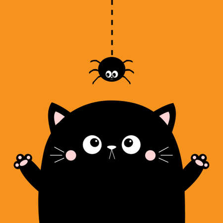 Happy Halloween. Cute cat face holding hands up. Boo. Hanging spider. Cartoon character. Kawaii baby animal. Notebook cover, tshirt, greeting card, sticker print. Flat design. Orange background Vector