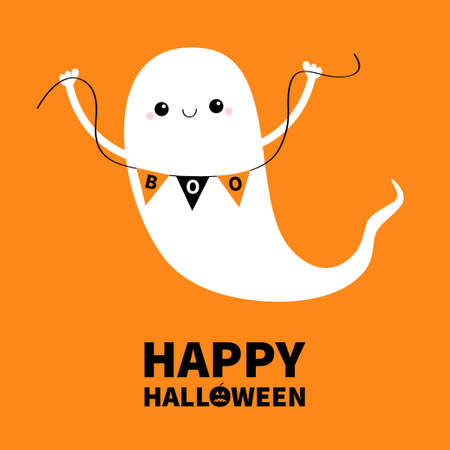 Happy Halloween. Flying ghost spirit holding bunting flag Boo. Cute cartoon kawaii spooky baby character. Scary white ghosts. Smiling face, hands. Greeting card. Orange background. Flat design. Vector