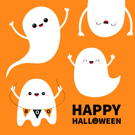 Happy Halloween. Cute ghost set. Spirit holding bunting flag Boo. Scary flying white ghosts. Cartoon kawaii spooky baby character. Smiling face, hands. Greeting card. Orange background. Flat Vector