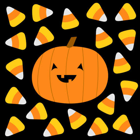 Happy Halloween. Candy corn, pumpkin with smiling face. Cute cartoon kawaii funny baby character set. Sweet triangle food. Flat design. Black background. Greeting card. Isolated. Vector illustration