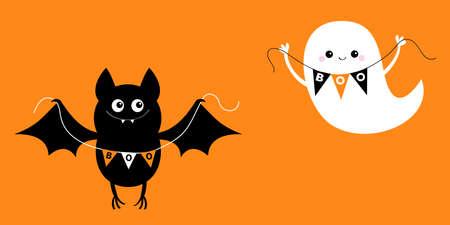 Flying bat ghost holding bunting flag Boo. Happy Halloween. Scary black animal spirit set. Cute cartoon kawaii spooky character. Orange background Greeting card. Flat design. Vector illustration