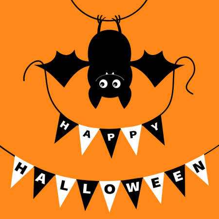 Hanging bat holding bunting flag garland. Happy Halloween. Scary black animal. Cute cartoon kawaii spooky character. Smiling face, wings. Orange background Greeting card. Flat design. Vector