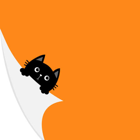 Happy Halloween. Curled paper corner. Black cat face holding fold page corners. Paw print. Cute cartoon kawaii funny baby animal character. Greeting card template. Orange background. Isolated. Vector